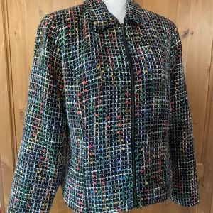 Christopher & Banks Twill Zip Up Blazer Jacket L